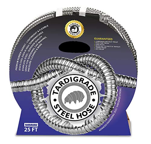 Tardigrade Steel Hose - 304 Stainless Steel Garden Hose - Lightweight, Kink-Free, Strong Heavy Duty, Metal Water Hoses, High Pressure, Durable and Easy to Use