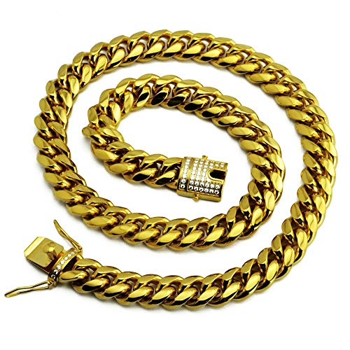 LSXX Hip-Hop-Rap-gouden ketting roestvrij staal Miami Cuban ketting titanium staal diamant 8mm 51cm