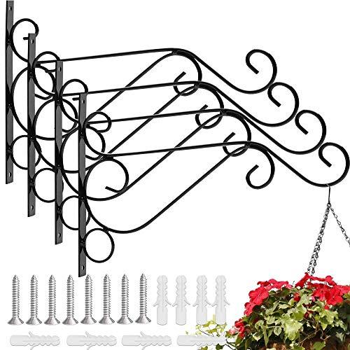 EMAGEREN 4 Stück Blumenampelhalter Pflanzen Haken Blumenampelhaken Wandhalter Blume Ständer Haken Blumenampelhalter für Laterne, Hanging Basket, Befestigung für Hängekörbe (Schwarz)