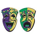 Beistle Large Comedy Tragedy Face Glitter Cutouts - 2 Pcs, Black/Gold/Green/Purple