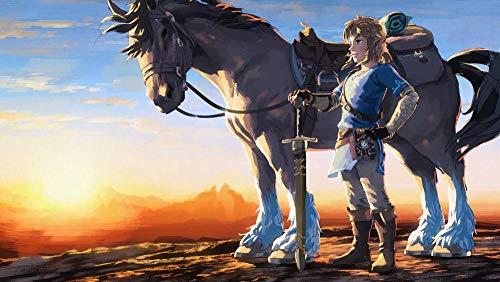 YUBYUB Puzzle 1000 Piezas de Madera Juguetes de Entretenimiento Adulto Especial Graduación Cumpleaños Regalo Hogar Decor Videojuego The Legend of Zelda/75 * 50 CM