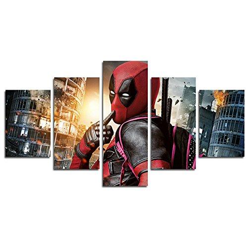 YspgArt66 - Lienzo impreso, 5 paneles con escena de Deadpool, pintura artística de pared para el hogar, sala de estar, oficina, decoración moderna, regalo (sin marco), 5 unidades
