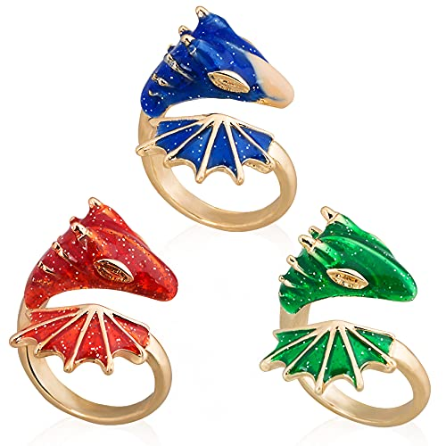 PAGOW 3Pcs Gold Topaz Dragon Ring, Lucky Finger Pet Knight Dragon Triceratops Open Ring, Adjustable Dragon Rings Jewelry Women Vintage Cute Animal Finger Ring (Red, Green, Blue)