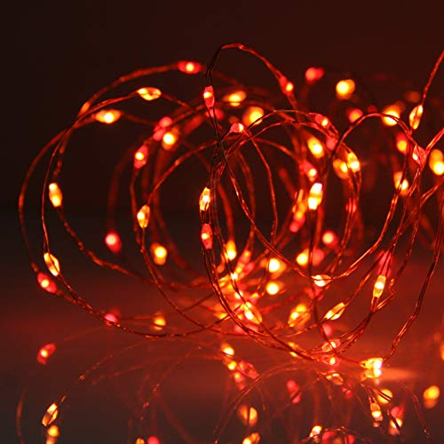 Micro LED Fairy String Lights. A Unique Combination of Red and Orange LEDs - Thin LED Copper Wire Light with Multifunction Controller by Qbis (Sunset)