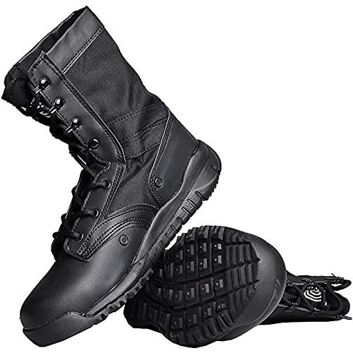 Botas TáCticas CañA Alta para Hombre Zapatos de Combate para Acampar con Cordones Botas de Senderismo Antideslizantes Transpirables Zapatos de Trabajo Impermeables Botas de Desierto Ultraligeras