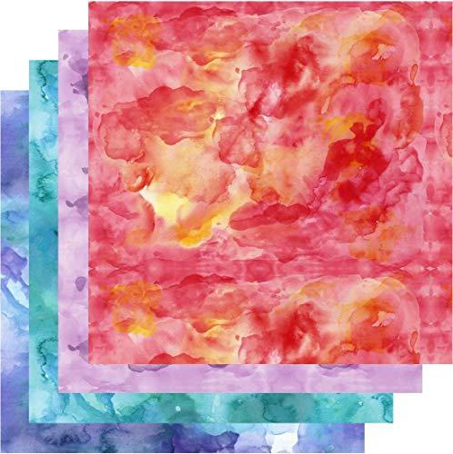 Patterned Vinyl Watercolor, Watercolor Vinyl, Red Blue Teal Purple, Adhesive Vinyl, 4-12'x12' Bundle