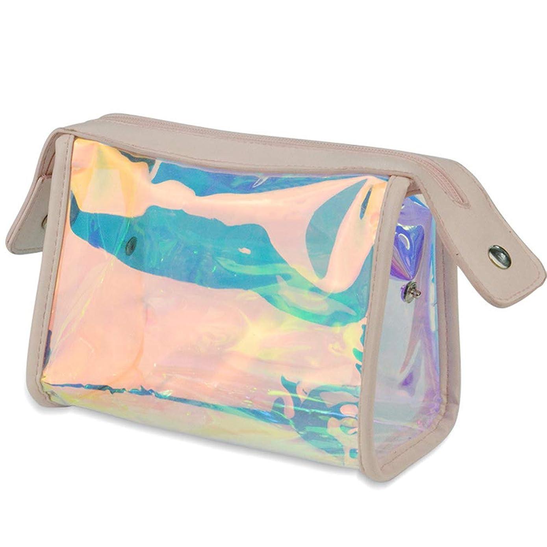 ビットリハーサル郊外ホーム朵 メイクポーチ 化粧バッグ オーロラカラー レーザー 透明バッグ 防水 収納携帯用 おしゃれ コスメポーチ たっぷり収納 旅行 便利 大容量 超軽量