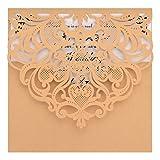 Juego de 50 invitaciones de boda cortadas con láser FOMTOR con papel imprimible en blanco y sobres para bodas, fiestas de cumpleaños, baby shower