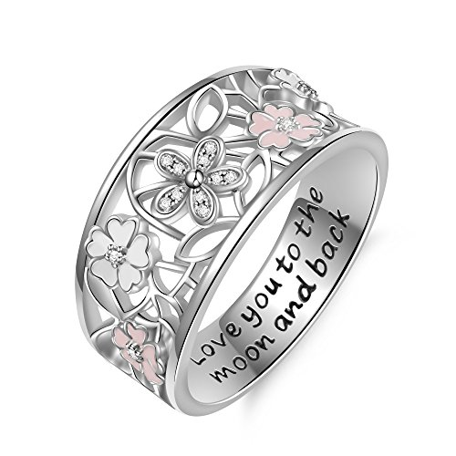 Angemiel 925 Sterling Silver Cubic Zirconia Flower Promise Rings for Her Jewelry Family Friend Love Ring anillos de Mujer