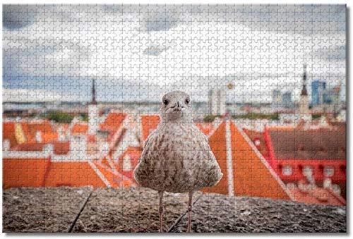 qingyuge Estonia pájaro Gaviota Tallin-1000 Piezas niños Adultos Intelectual de descompresión Difícil y Desafiante Decoración Hogar Juguete-50cmx75cm