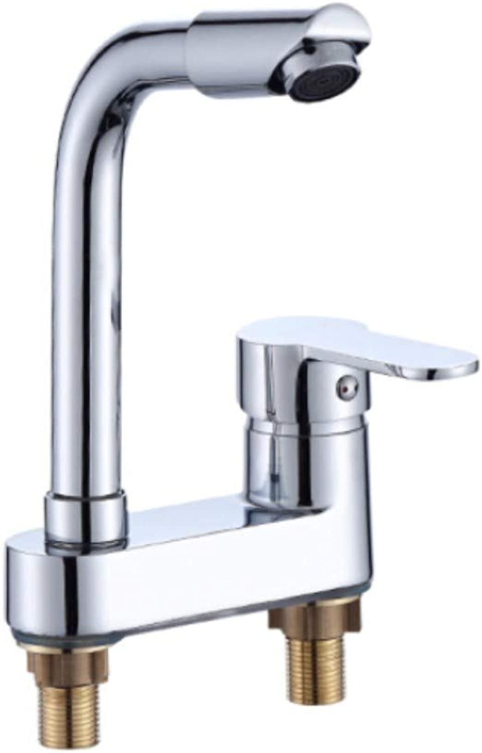 Faucet Waste Mono Spoutbathroom Faucet Hot and Cold Copper Mixing Valve 360 ??Degree redating Double Hole Bathroom Cabinet Basin Faucet