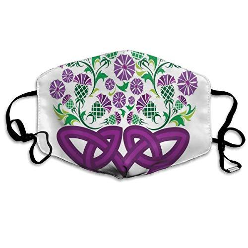 Keltische knoop en distel plant in mand vorm met bloemdrukveiligheid monddeksel voor volwassenen