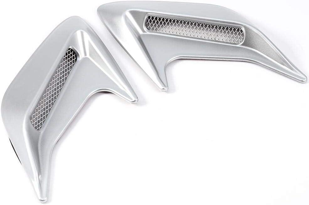 Silver 1 Pair Car Decorative Air Scoop Outlet Flow Intake Hood Vent Bonnet Universal DIY Qiilu Air Flow Vent Hood