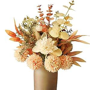 Silk Flower Arrangements cn-Knight Artificial Fall Flower Bouquet 2pcs 17 Inch Fall Wedding Bouquet for Wedding Bridal DIY Bouquet Home Décor Centerpieces