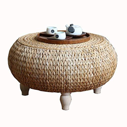 Gartenmöbel & Zubehör Tische Rattan kleine Couchtisch Wohnzimmer rundes Massivholz Couchtisch Balkon Erker niedriger Tisch Bett Computertisch, handgefertigt (Color : Wood, Size : 50 * 50 * 35cm)