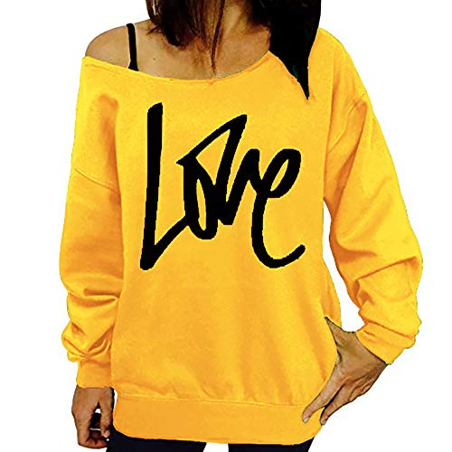 Derrick Aled(k) zhuke Love Letter Print Long-Sleeved Sweater Sexy Leaky Shoulder Top T Shirt Women Round Neck Off Tunic Streetwear Clothes Yellow
