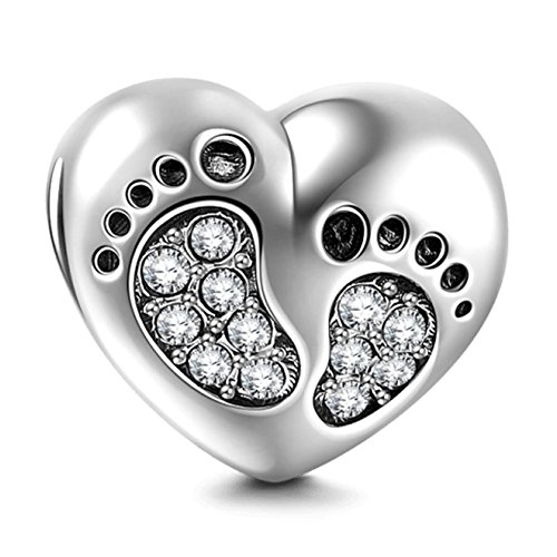 SOUKISS Footprint Charm with Heart 925 Sterling Silver Family Love Bead Baby First Steps Charm for Charm Bracelet (Clear)