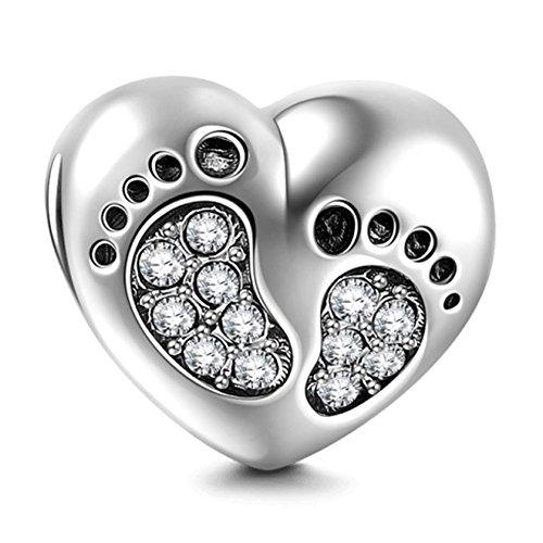 Abalorio de corazón de plata de ley 925 con diseño de huella de pie, para pulsera, regalo de Navidad, para celebrar los primeros pasos del bebé, amor, familia, día de San Valentín