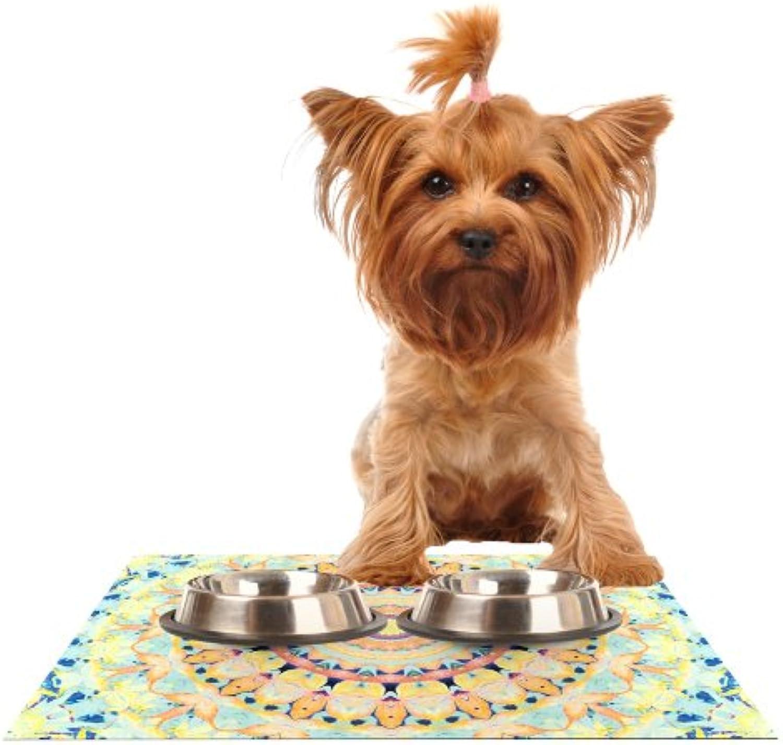 KESS InHouse Iris Lehnhardt Flourish  Circle Yellow Feeding Mat for Pet Bowl, 18 by 13Inch