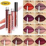 10pcs/Set Makeup Matte Lipstick Lip Kit, Velvety Liquid Lipstick...