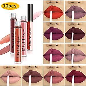 Beauty Shopping 10pcs/Set Makeup Matte Lipstick Lip Kit, Velvety Liquid Lipstick Waterproof Long Lasting Durable Nude Lip Gloss Beauty…