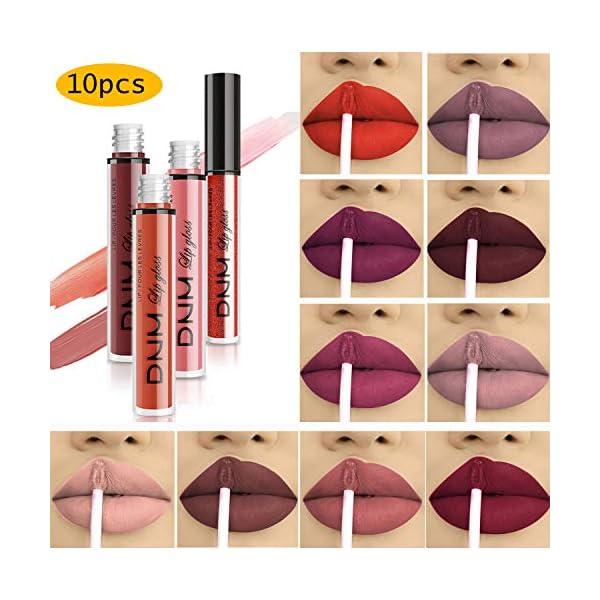 Beauty Shopping 10pcs/Set Makeup Matte Lipstick Lip Kit, Velvety Liquid Lipstick Waterproof Long
