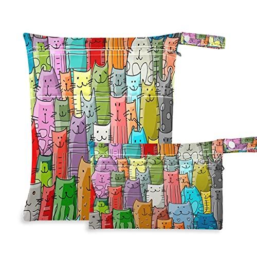 2 pz Panno Pannolino Wet Dry Borse Impermeabile Divertente Gatti Modello Colorato Riutilizzabile Lavabile Viaggio Spiaggia Yoga Palestra Borsa per Costumi Da Bagno Vestiti B