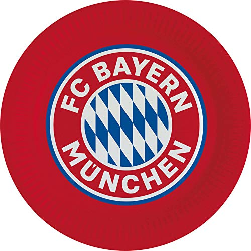 Amscan 9906506 - FC Bayern München Teller, 8 Stück, Durchmesser 23 cm, Papier, Fanclub, Fußball, Party, Einweggeschirr, Tischdeko
