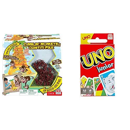 Mattel Games 52563 - S.O.S. Affenalarm Kinderspiel geeignet für 2 - 4 Spieler, Kinderspiele ab 5 Jahren & UNO Junior Kartenspiel für Kinder, Kinderspiele geeignet für 2 - 4 Spieler ab 3 Jahren