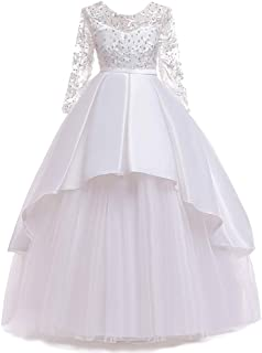 Girl's Special Occasion Performances Host Evening Gown Flower Beads Lace Princess Dress for Girls Kids Birthday Party Prom