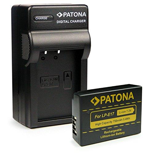 PATONA 3en1 Caricabatteria + Batteria LP-E17 compatibile con Canon EOS 750D 760D 8000D Kiss X8i Rebel T6i T6s