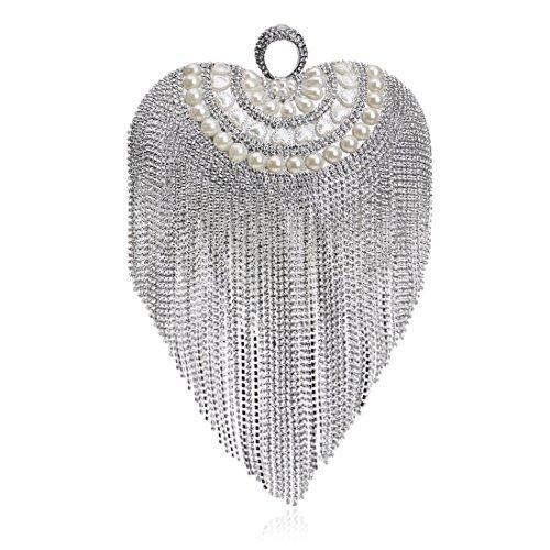 TEYUN Mini-Herz-förmige Handtasche Quaste Abendtasche Luxus Brautkleid-Beutel-Kupplungs-Geldbeutel (Color : Silver)