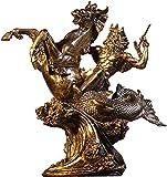 DECORACION FHW Dia DE Dios DE Grego hogar Mesa de la colección, Resina Bronce Gente Griego del mar Neptuno Figura Escultura Poseidon Vintage Statue