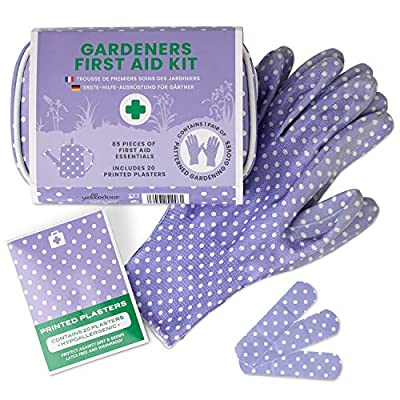 Yellodoor 85 Pcs Mini First Aid Kit with Scissors, Waterproof Plasters, Antiseptic Wipes, Bandage. First Aid Bag for Travel and Garden. Includes Ladies Gardening Gloves. Ideal Mum Gifts. Vegan (Pink) from Yellodoor Ltd
