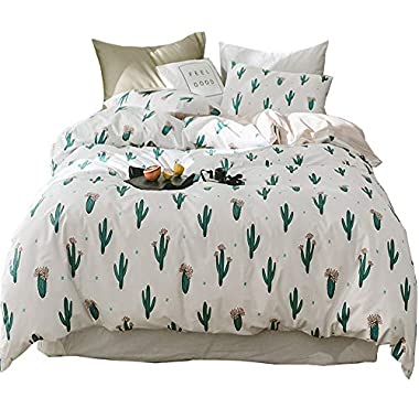Full Bedding Sets 3 PC Cactus Print Cotton Duvet Cover Queen Zippered Reversible Chevron Striped Bedding Geometric Comforter Cover Set Include 2 Pillow Cases Plant Bedding Duvet Cover Set Queen/Full