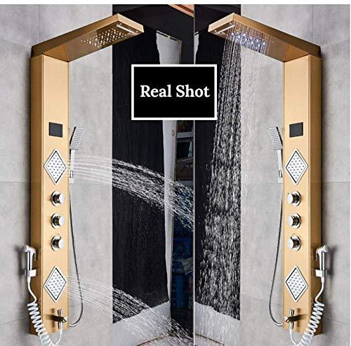 Gouden Douchepaneel LED Licht Badkamer Douche Digitale Scherm Cascade Mixers Draaien Whirlpool Jets