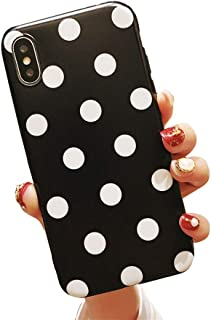 BONTOUJOUR iPhone X/iPhone XS Phone Case, Beautiful Art Polka Dot Pattern Serie Cover Case Soft TPU 360 Degree Good Protection- Black Polka dot