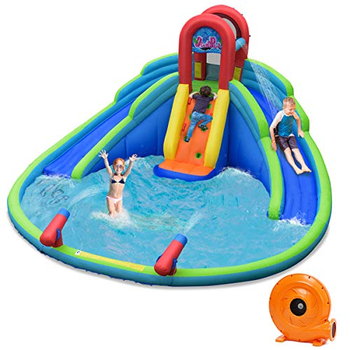 BOUNTECH Inflatable Water Park, 18 x 17 x 9.5 FT Mighty Bounce House w/ Large Splash Pool, Climbing Wall, 2 Slides & Water Cannon, Including Carry Bag, Repair Kit, Stake, Hose (with 780W Air Blower)