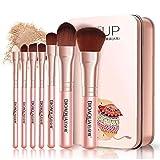 Hiinice Herramientas 7PCS de Cepillo del Maquillaje Suave de Fibra Fundación Powder Blush Pincel Corrector de Cejas cosmético cepilla Kabuki precisión Cara cepillos de Belleza (Rosa)