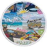 KKDS Toalla de Playa Divertido Elemento de Verano Microfibra Playa Toalla de Dibujos Animados Slipper Skateboard Imprimir Toalla de Playa Redonda Grande para Adultos para Playa, decoración