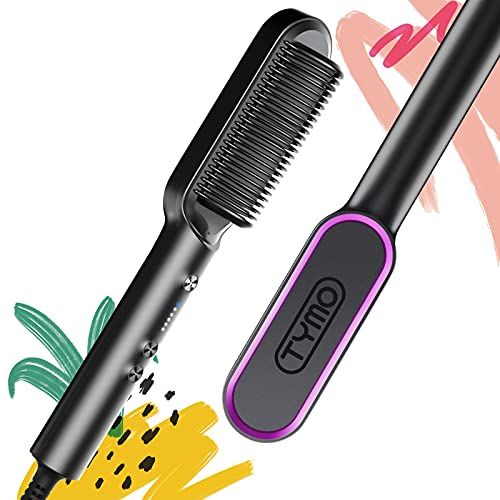 Tymo Cepillo alisador de pelo - Tymo Ring rizada alisadora de cabello con 20s de calentamiento rápido, 5 peines alisadores de pelo caliente de nivel termostático, apagado automático de 30 minutos y 110V-240V, cepillo alisador sedoso para el cabello