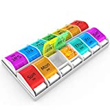 Zoksi Weekly Pill Organizer Am Pm - Daily Pill Organizer 2 Times a Day 7 Day, Upgraded Design Daily Pill Box Am Pm with Larger Capacity and Easier to Pop Open Button, Pill Container Medication Case.