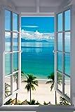 Poster Fenster zum tropischen Palmenstrand - Größe 61 x