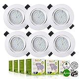 Spots LED Encastrables Orientable Bojim 6x GU10 6W Blanc Neutre 4500K Lumière du jour Spot Encastré Blanc Mat 600lm Equivalente de 54W 220V IP20 30°Orientable 120°d'éclairage Non Dimmable