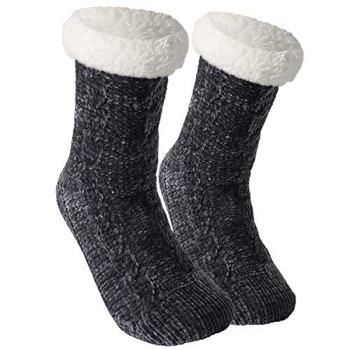 Tacobear Zapatillas Casa Mujer Calcetines Antideslizantes Cálido Calcetines Invierno con suela Calcetines Zapatilla Gruesos Lana Calcetines de Piso para Mujer Niño (Gris oscuro)