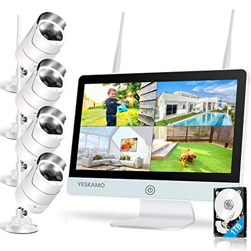 Floodlight Wireless Security Camera System with 12 Monitor 2 Way Audio, YESKAMO Outdoor 3MP WiFi IP Cameras AI Human Detection Siren Alarm, 1080P HD Screen Home Surveillance System with Hard Drive