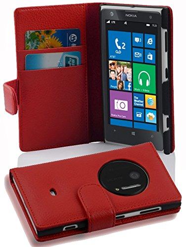 Cadorabo Custodia Libro per Nokia Lumia 1020 in ROSSO CREMISI - con Vani di Carte e Funzione Stand di Similpelle Strutturata - Portafoglio Cover Case Wallet Book Etui Protezione