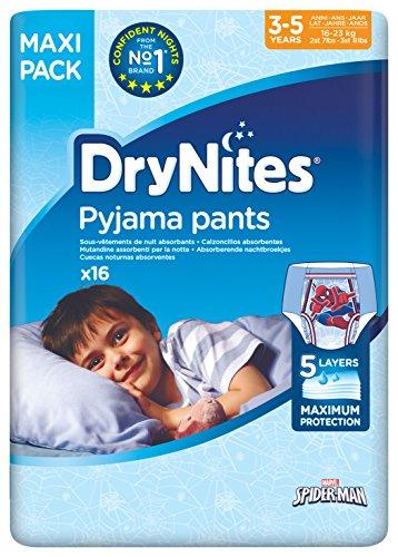 Huggies DryNites hochabsorbierende Nachtwindeln bei Bettnässen, für Jungen 3-5 Jahre, 64 Stück Monatspackung