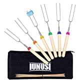 IUNUSI Marshmallow Roasting Sticks Extendable Smores Skewers for Fire Pit Campfire 6Pcs 30 Inch