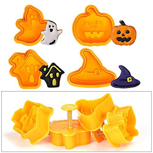 4pcs Formine per Biscotti Halloween, Tagliabiscotti Halloween Plastica, Zucche Stampi Biscotti Halloween 3D, Forme Biscotti per Cappello da Strega, Fantasma e Castello per Halloween